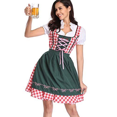 Yncc Kleider Damen Frauen Oktoberfest Kostüm Bayerisches Bier Mädchen Drindl Tavern Maid Dress Bierfest Dienstmädchen Kleidung Kostüm Rotes Und Weißes Plaid Kleid (XL)