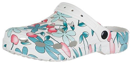 BRANDSSELLER Damen Clog (Garden Dream) Gartenschuh/Hausschuh / Badeschuh - Farbe: Weiß-Kirschen-Blumen - Größe: 40/41