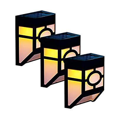 niceEshop(TM) Solar Deck Lights Wall Mount Waterproof Light Sensor LED Garden Light Lamp Outdoor Lightings for Fence Stairs Steps Patio Pond Pool (Warm White, Pack of 3pcs )