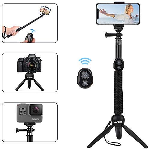Alfort Palo Selfie, Selfie Stick Bluetooth Trípode Portátil con Control Remoto per iPhone 11 Pro/X/8/Samsung Galaxy S10/S9/Huawei P20/Mate 10 y Otros Teléfonos con Android/iOS (6.0'')