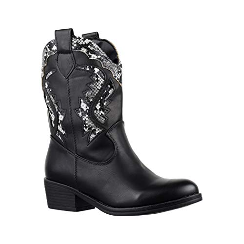 Elara Damen Cowboy Stiefel | Bequeme Lederoptik Stiefeletten | Blockabsatz Zipper | Gefüttert | chunkyrayan 7652-PA Black-40