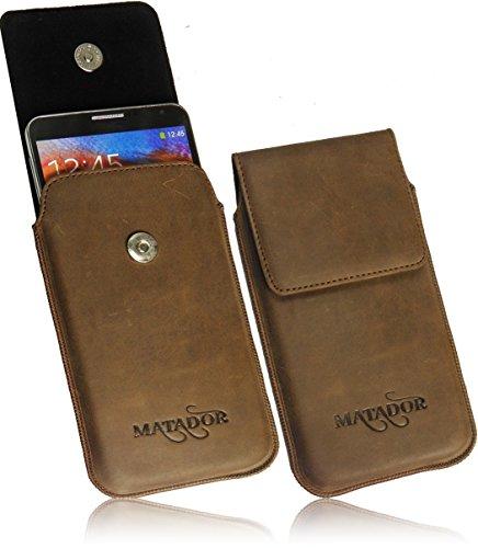 MATADOR Für LG Optimus G Pro Lite Slim Design Vintage Look Antik Echt Ledertasche Handytasche Schutzhülle Etui Vertikaltasche Tabacco mit Magnetverschluß und Ausziehhilfe