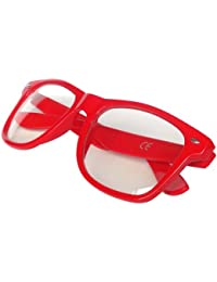 Red Geek Wayfarer Glasses Retro 80's Fashion Nerd Wayfarers Clear Lens Unisex