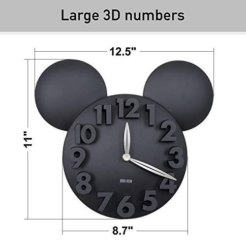 41V92tp2ToL - Sanch Ancha Mickey Mouse - Reloj de Pared con Pilas, para decoración del hogar, para habitación de niños, 3D, 3D, 3D, 31,75 cm, Color Negro
