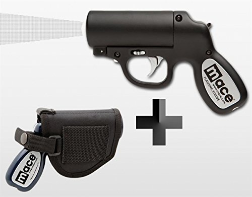 Mace Gun Spray (Mace Pepper Gun - Pfefferspray Pistole schwarz Strobe LED + Holster)