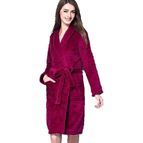 DMMSS Las señoras pijama Coral Fleece albornoz camisón de manga larga , xl , purple