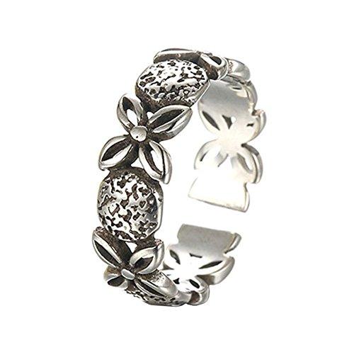 Topdo 1Vintage Damen-Ring, Open-Ring, Thailand, Silber, Schwarz, Klee-Ring, eleganter Modeschmuck, kann, verstellbar