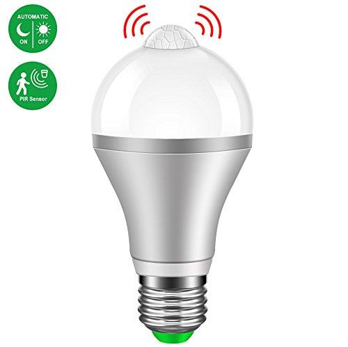 LED Lampen mit Bewegungsmelder Minger E27 9W Kaltweiß LED Birnen PIR Infrarot Dekorative Beleuchtung für Korridor, Garage, Treppe, Garten, Hof, 1 Stück [Energieklasse A+]