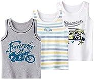 Coralup - Camiseta interior sin mangas para niños y niñas, 100% algodón, diseño de dinosaurio, 3 unidades, có