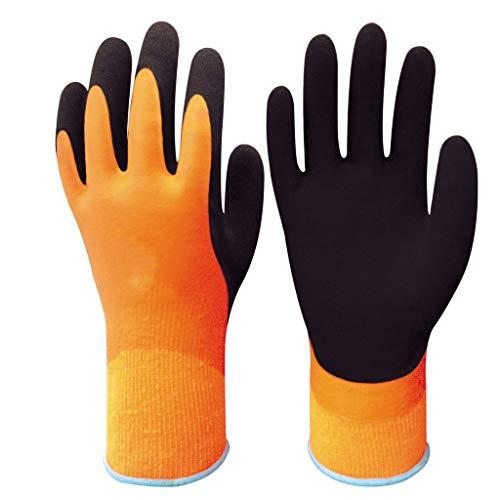 QYJpB wasserdichte Baumwollhandschuhe Nylon-Latex-Schaum-beschichtete Arbeitshandschuhe rutschfeste Verdickung Kalter Winter Warme Handschuhe (1 Paar) Nylon-winter-handschuhe