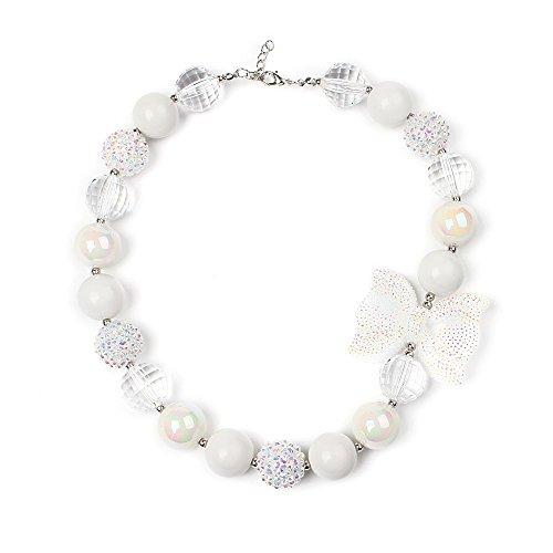 vcmart Schöne Weiß Klobiges Bubblegum Bead Halskette Mädchen mit GFT (Armbänder Kostüm Klobige)
