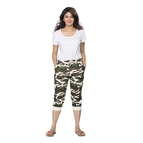 Clifton Damen Cuffed Camouflage Komfort Capri Gr. XS, gebrochenes weiß (Komfort-capri-hosen)