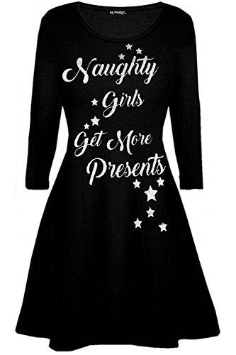 Oops Outlet Damen Schneeflocken Rentier Santa Kostüm Weihnachten Swing Minikleid - UNGEZOGEN Mädchen schwarz, Plus Size (UK 24/26)