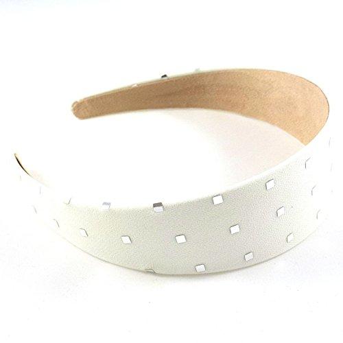 rougecaramel - Accessoires cheveux - Serre tête/headband large uni avec motif carré argenté - ivoire
