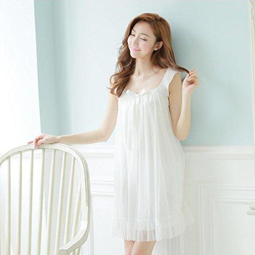 Schlafrock-weiblicher Sommer-Retro- Nette Leibchen-sexy Garn-kurzärmliges Pyjama-Kleid GAOLILI (Farbe : Weiß, größe : L)