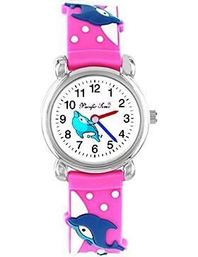 Pacific Time Kinder-Armbanduhr farbige Zeiger Kinderuhr Mädchenuhr Delfin Kinder Armbanduhr Mädchen Analog Uhr...