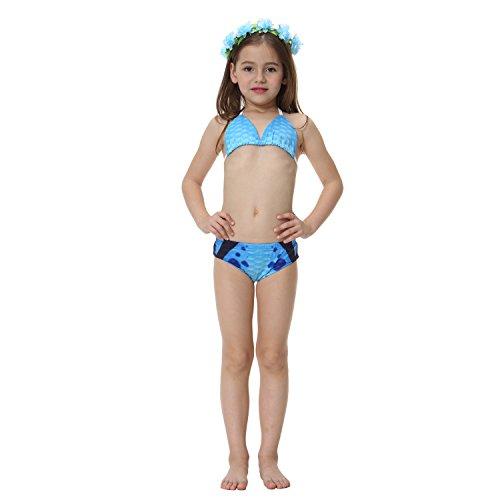 zhenlanshangmao Girl Beach Sports 2-teiliges Bikini-Schwimmen am Meer spielt Kostüm Meerjungfrau Swimsuit (140(5-6T), ()
