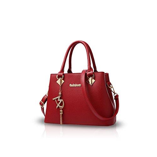 NICOLE&DORIS Femmes Mode Sac à bandoulière Crossbody sac à bandoulière pour dames résistant à l'eau Totes Soft PU Noir Vin rouge
