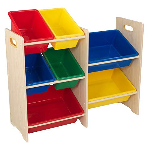 KidKraft 15470 Etagère de rangement, chambre enfant, meuble incluant 7 casiers en plastique interchangeables - couleurs primaires et coloris naturel