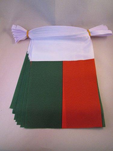 AZ FLAG Guirnalda 12 Metros 20 Banderas de Madagascar 45x30cm - Bandera MALGACHE 30 x 45 cm - BANDERINES