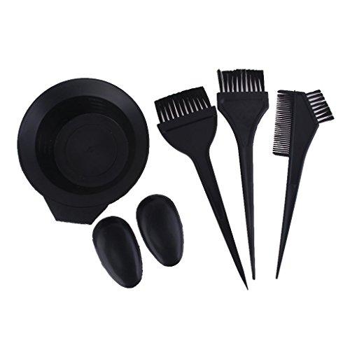 Preisvergleich Produktbild Salon Haarfarbe Farbstoff Schüssel Kamm Bürste Friseur Tönung Werkzeug Set - Schwarz