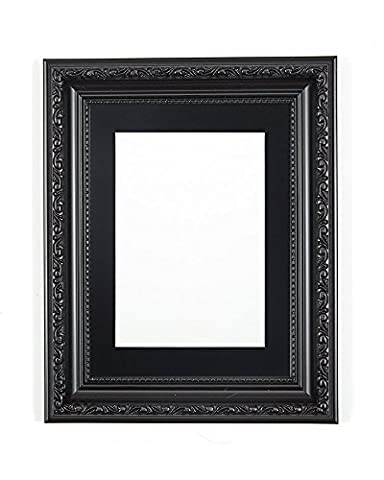 Black with Black Mount Ornate Shabby Chic Picture/Photo/Poster frame- Size - A4 for 9