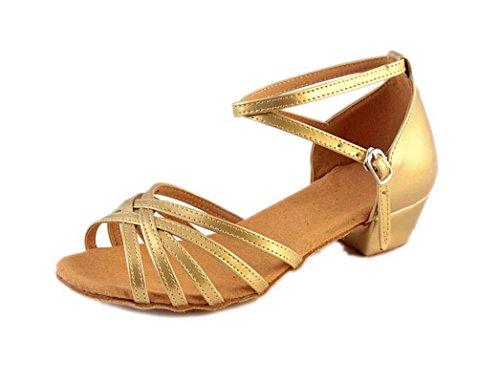 ELE GENS Mädchen Tanzschuhe Standard Latein Ballsaal Salsa Schuhe Weich Sohle (34, Gold)