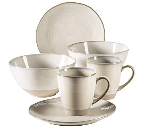 MÄSER 931370 Serie Nottingham Vintage Geschirr-Set für 2 Personen, 6-teiliges Frühstücksgeschirr...