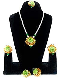 Generic Indian Consignors Green Gota Patti Flower Jewellery Set With Necklace, Earrings, Maang Tika, 2 Bracelets...