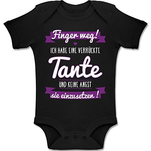 Shirtracer Sprüche Baby - Ich Habe eine verrückte Tante Lila - 18-24 Monate - Schwarz - BZ10 - Baby Body Kurzarm Jungen Mädchen -