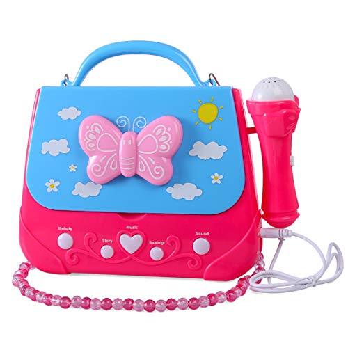 YAKOK Mikrofon Kinder, Tragbar Karaoke Kinder Mikrofon Schultertasche kindermikrofon Spielzeug für Mädchen 3-7 Jahre (Rot, Blau)