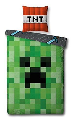 (Wende Bettwäsche Set Minecraft, 135x200cm + 80x80cm, 100% Baumwolle, Motiv Craft Blöcke)