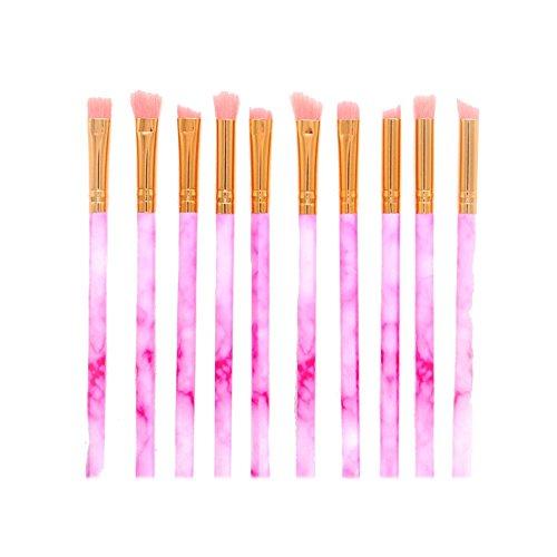 Gespout 10PCS Pinceau de Maquillage Professionnel pour Yeux Rose Rouge Nylon Poignée en Plastique Fond de Teint Poudre Blush Différents Styles