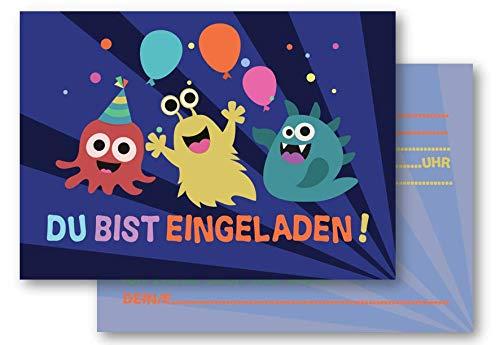 MOZTEC 12 Einladungskarten mit dem Motto Monsterparty. Für Jede gruselige Party ob jung oder alt. Für Halloween oder den Kindergeburtstag für Jungen und Mädchen