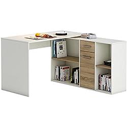 IDIMEX Bureau d'angle Carmen Table avec Meuble de Rangement intégré et modulable avec 4 étagères 1 Porte et 1 tiroir, décor Blanc Mat et chêne Sonoma