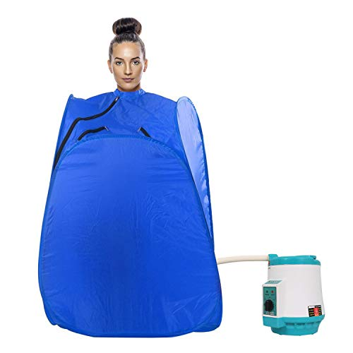 GTC HiTASHI Home Salon Foldable Sauna Spa with 1.5 L Portable and Personal Steam Generator Steamer Pot for Full Body Detox Therapy (750 W, Blue)