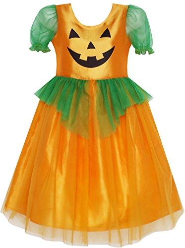Mädchen Kleid Kürbis Tüll Kleiden Holloween Kostüm Gr. (Holloween Kostüme Für)