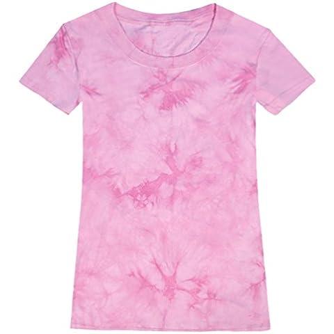 QIYUN.Z De Manga Corta De Las Mujeres Del Verano Del Color Solido Tie-Dye Camisetas Ocasionales De La