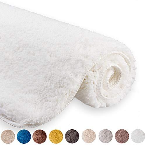 etérea Microfaser Hochflor Badematte Jana - weicher & Flauschiger Badezimmer Badvorleger Badteppich - rutschfest & Ökotex 100 Zertifiziert - Größe: 60x100 cm Teppich, Farbe: Weiß