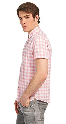 Tom Tailor Denim für Männer Shirt / Blouse kariertes Kurzarm-Hemd light berry mauve