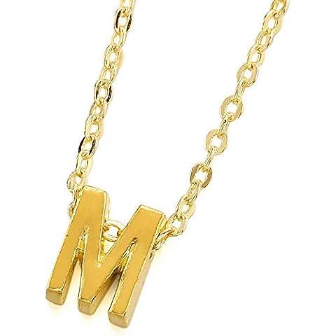 MeMeDIY Oro Dorado Latón Inicial Carta Letra Colgante Collar