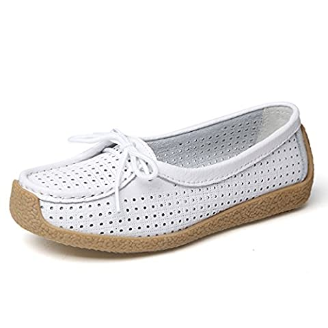 Z.SUO Women's Soft Comfortable Lace-Up Flat Loafers Breathable Casual Leather Flats Shoes(7 UK/40 EU,White)