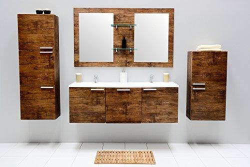 Badset Sycylia Antique Wood Badmöbel Set Badezimmer mit Doppelwaschbecken Badset