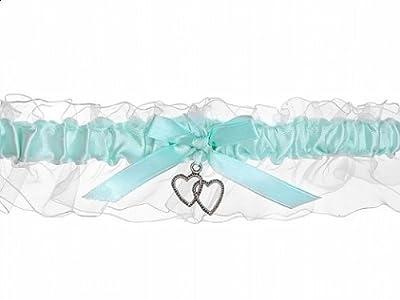 Strumpfband Satin hellblau für die Braut - Hochzeit by Partydeco