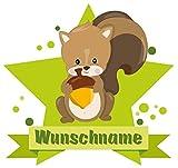 Samunshi® Eichhörnchen Aufkleber mit Namen Autoaufkleber Namensaufkleber Kinder in 7 Größen (10x8,8cm Mehrfarbig)