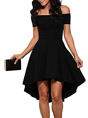 Angelady Women Sexy Off Shoulder Sleeve Flared Swing Party Skater Summer Dress