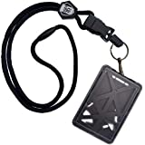 SpecialistID Porte-badge à chargement par le haut pour 3cartes d'identité avec cordon robuste/clip métallique amovible/port