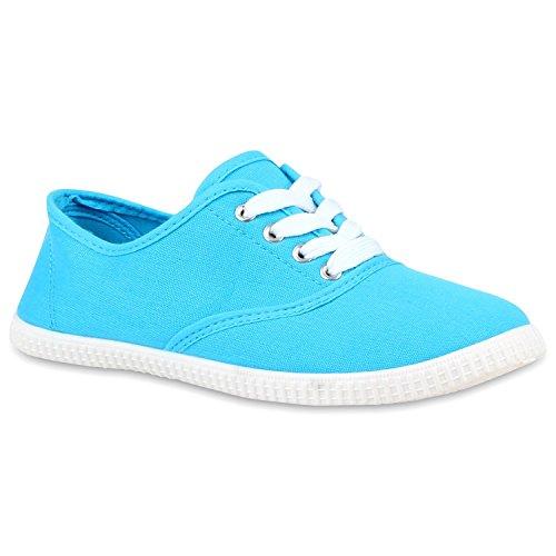 Sportliche Damen Herren Sneakers | Unisex Basic Freizeit Schuhe | Schnürer Stoffschuhe | Prints viele Farben Hellblau