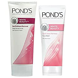 Ponds White Beauty Sun Dullness Removal Face Scrub, 50g And Ponds White Beauty Spotless Fairness Face Wash, 50g With Free Fair & Lovely Multi Vitamin Cream, 4.5g
