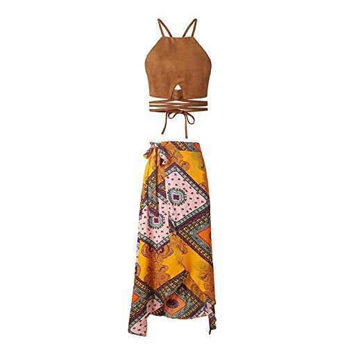 Vestidos boho hawaianos Para mujer Traje de playa de verano de 2 piezas con cordones Sin...